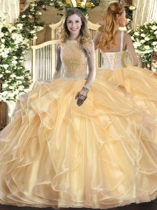 Ideal Champagne Sleeveless Organza Lace Up Quinceanera Dress for Military Ball and Sweet 16 and Quinceanera