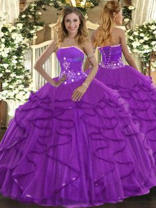 Traditional Ball Gowns 15 Quinceanera Dress Purple Strapless Tulle Sleeveless Floor Length Lace Up
