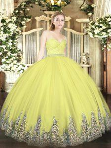 Mermaid Sweet 16 Dresses Yellow Sweetheart Tulle Sleeveless Floor Length Zipper