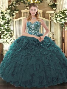 Fancy Teal Sleeveless Beading and Ruffled Layers Floor Length Quinceanera Dress