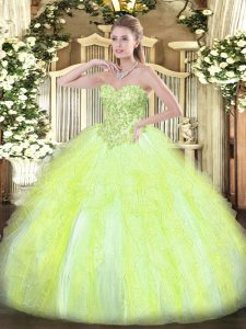 Yellow Green Ball Gowns Tulle Sweetheart Sleeveless Appliques and Ruffles Floor Length Lace Up Quince Ball Gowns