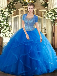 Royal Blue Clasp Handle Scoop Beading and Ruffles Ball Gown Prom Dress Tulle Sleeveless