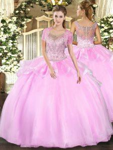 Floor Length Baby Pink Vestidos de Quinceanera Scoop Sleeveless Clasp Handle