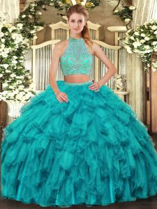 Top Selling Sleeveless Organza Floor Length Criss Cross 15 Quinceanera Dress in Turquoise with Beading and Ruffles