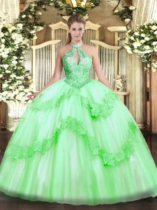 Sleeveless Lace Up Floor Length Appliques and Sequins Quinceanera Gowns