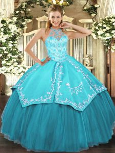 Popular Floor Length Aqua Blue Quinceanera Gowns Halter Top Sleeveless Lace Up