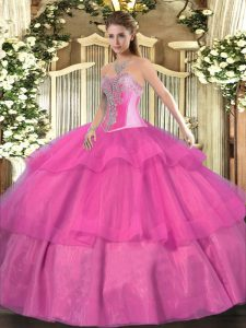 Classical Hot Pink Sleeveless Tulle Lace Up Ball Gown Prom Dress for Military Ball and Sweet 16 and Quinceanera