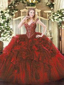 Sweet V-neck Sleeveless Organza 15th Birthday Dress Beading and Ruffles Lace Up