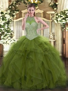 Olive Green Tulle Lace Up Halter Top Sleeveless Floor Length 15 Quinceanera Dress Beading