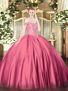 Cheap Off The Shoulder Sleeveless Satin Quinceanera Dresses Beading Lace Up