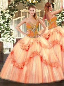 Floor Length Ball Gowns Sleeveless Peach Sweet 16 Quinceanera Dress Lace Up