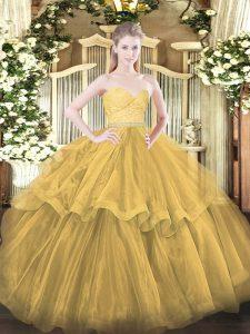 Romantic Sleeveless Brush Train Zipper Beading and Lace and Ruffled Layers Quinceanera Dress