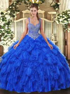 Royal Blue Ball Gown Prom Dress Military Ball and Sweet 16 and Quinceanera with Beading and Ruffles Straps Sleeveless Lace Up