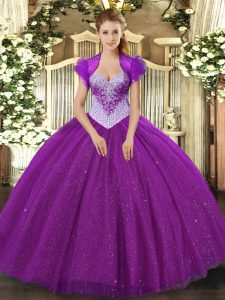 Affordable Ball Gowns Vestidos de Quinceanera Eggplant Purple Sweetheart Tulle Sleeveless Floor Length Lace Up