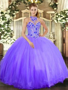 Lavender Sleeveless Embroidery Floor Length Quinceanera Dress