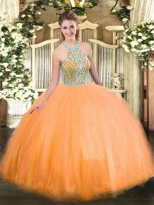 Designer Sleeveless Beading Lace Up Quinceanera Dress