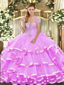 Perfect Sleeveless Organza Floor Length Lace Up Quinceanera Gowns in Lilac with Appliques and Ruffled Layers