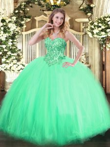 Fine Apple Green Ball Gowns Sweetheart Sleeveless Tulle Floor Length Lace Up Appliques 15 Quinceanera Dress