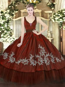 Enchanting Wine Red Organza and Taffeta Zipper Quince Ball Gowns Sleeveless Floor Length Beading and Embroidery