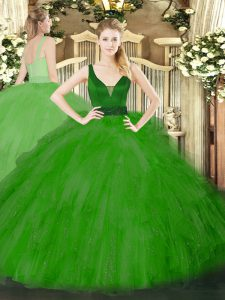 New Arrival Green Sleeveless Tulle Zipper Vestidos de Quinceanera for Military Ball and Sweet 16 and Quinceanera