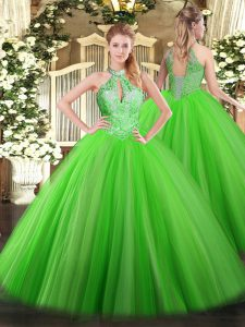 Luxury Halter Top Sleeveless Tulle Quinceanera Gowns Sequins Lace Up