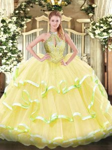 Halter Top Sleeveless Lace Up Vestidos de Quinceanera Yellow Organza