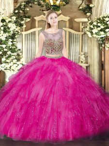 Dynamic Hot Pink Tulle Lace Up Scoop Sleeveless Floor Length Vestidos de Quinceanera Beading and Ruffles