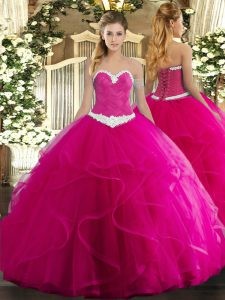 Stylish Fuchsia Sleeveless Appliques and Ruffles Floor Length Sweet 16 Dress