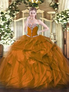Low Price Brown Organza Lace Up Sweetheart Sleeveless Floor Length Sweet 16 Dress Beading and Ruffles