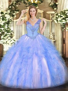 Light Blue Ball Gowns Organza V-neck Sleeveless Beading and Ruffles Floor Length Lace Up Quinceanera Gowns