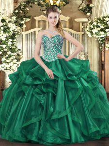 Sweetheart Sleeveless Lace Up Sweet 16 Dress Dark Green Organza