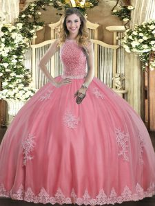 Delicate Baby Pink Ball Gowns Tulle High-neck Sleeveless Beading and Appliques Floor Length Lace Up Quinceanera Gowns