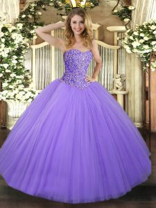 Lavender Lace Up Quinceanera Gown Beading Sleeveless Floor Length