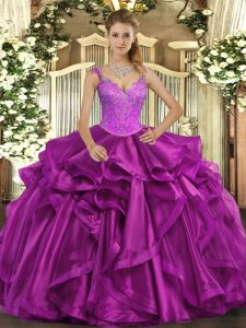 Luxurious Sleeveless Lace Up Floor Length Beading and Ruffles Quinceanera Dresses