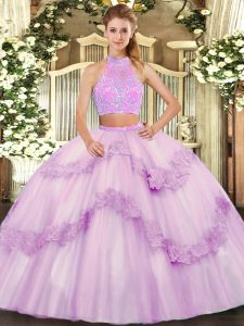 Spectacular Sleeveless Tulle Floor Length Criss Cross Vestidos de Quinceanera in Lilac with Beading and Appliques and Ruffles