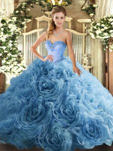 Fabric With Rolling Flowers Sleeveless Floor Length Sweet 16 Dress and Beading