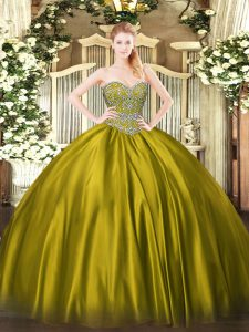 Satin Sleeveless Floor Length 15 Quinceanera Dress and Beading