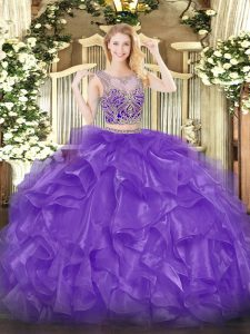 Lovely Organza Scoop Sleeveless Lace Up Beading and Ruffles Sweet 16 Dress in Eggplant Purple