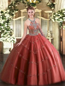 Artistic Ball Gowns Sweet 16 Quinceanera Dress Wine Red Halter Top Tulle Sleeveless Floor Length Lace Up