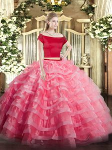 Fitting Watermelon Red Short Sleeves Floor Length Appliques and Ruffled Layers Zipper 15th Birthday Dress