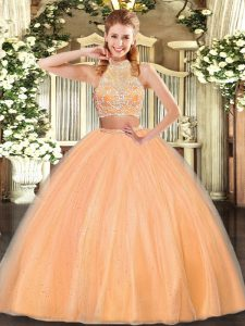 Custom Made Floor Length Criss Cross Quinceanera Gown Orange Red for Military Ball and Sweet 16 and Quinceanera with Beading