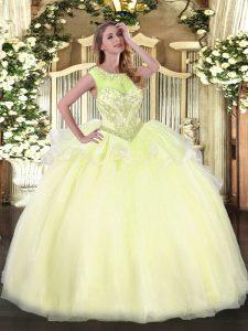 Most Popular Beading Vestidos de Quinceanera Light Yellow Lace Up Sleeveless Floor Length