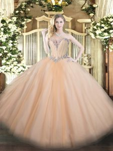 Free and Easy Peach Ball Gowns Tulle Sweetheart Sleeveless Beading Floor Length Lace Up Quinceanera Gowns