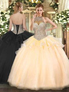 Peach Ball Gowns Beading 15 Quinceanera Dress Lace Up Tulle Sleeveless Floor Length