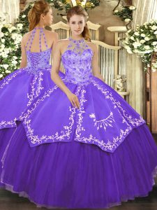 Shining Floor Length Purple Quinceanera Gown Satin and Tulle Sleeveless Beading and Embroidery