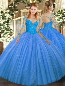 Gorgeous Baby Blue Long Sleeves Lace Floor Length Quinceanera Gown