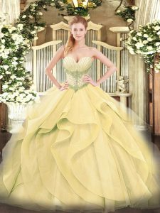 Flirting Gold Ball Gowns Sweetheart Sleeveless Tulle Floor Length Lace Up Beading and Ruffles 15th Birthday Dress