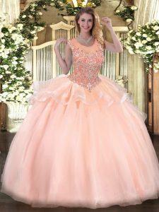 Floor Length Ball Gowns Sleeveless Peach Vestidos de Quinceanera Zipper