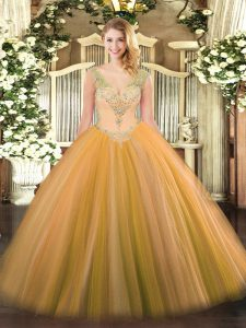 Best Selling Sleeveless Lace Up Floor Length Beading Sweet 16 Quinceanera Dress