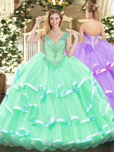 Low Price Sleeveless Lace Up Floor Length Beading Quince Ball Gowns